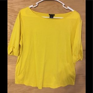 Ann Taylor yellow gold rolled sleeve large t shirt